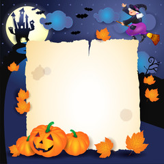 Halloween night with parchment, pumpkins and old witch