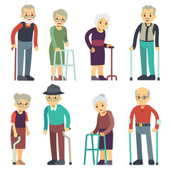 Old people cartoon vector characters set. Senior man and woman couples collection