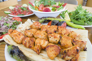Chicken shish kebab menu