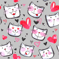 Hand painted seamless pattern with cute kittens. Watercolor bright cartoon cats on the white background. Lovely texture.