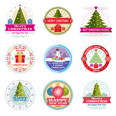 Merry christmas vector labels. Winter holiday retro emblems and logos