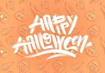 Happy halloween text. Happy Halloween modern brush calligraphy.  Vector illustration