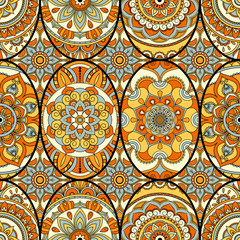 Seamless pattern tile with mandalas. Vintage decorative elements. Hand drawn background. Islam, Arabic, Indian, ottoman motifs. Perfect for printing on fabric or paper.