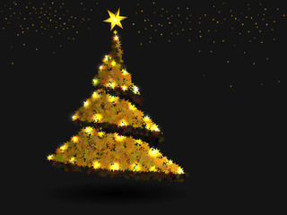 Astract Christmas tree from orange stars and lights.