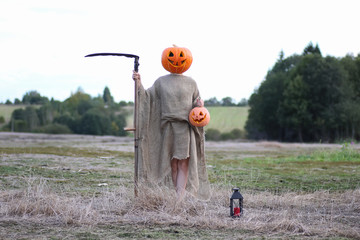 scarecrow pumpkin head in a field