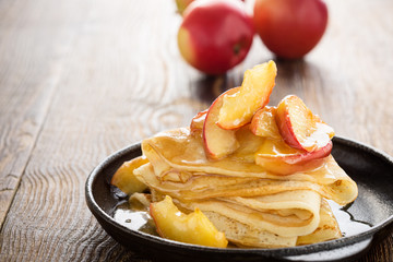 Homemade  crepes served with caramelized apples