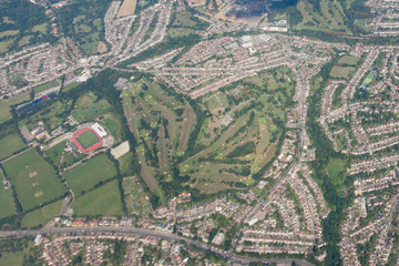 aerial view of english golf course