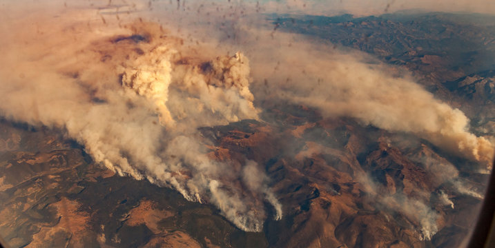 wildfire smoke plumes from above