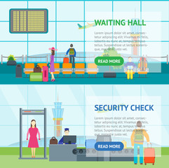 Cartoon Airport Waiting and Security Control Banner Horizontal. Vector