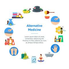 Cartoon Alternative Medicine Banner Card Circle . Vector