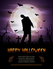 Halloween background with zombie walking out from grave