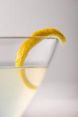 Lemon Cocktail with Twist Closeup