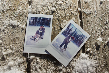 Images of young couple playing in snow