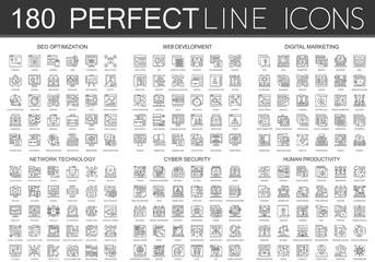 180 outline mini concept icons symbols of seo optimization, web development, digital marketing, network technology, cyber security, human productivity icon.