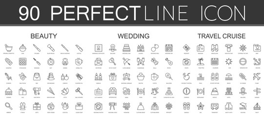 90 modern thin line icons set of beauty cosmetics, wedding, travel cruise