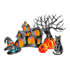 Halloween house and trees silhouette, watercolor illustration isolated on a white background.