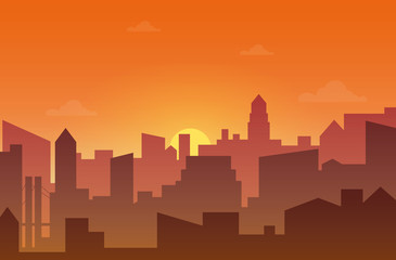 City skyline silhouette at sunset or sunset. Skyscappers, towers and office in dirty fog vector illustration.