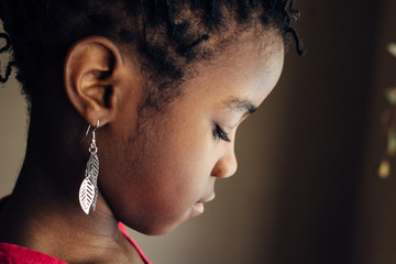 Profile of a cute African American girl