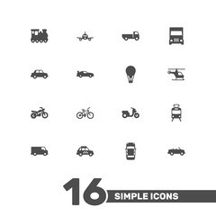Set Of 16 Traffic Icons Set.Collection Of Panorama, Aircraft, Truck And Other Elements.