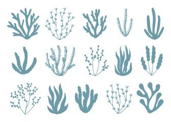 algae silhouettes set of icons