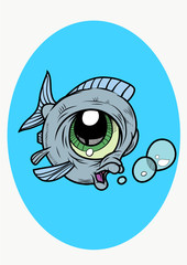 A funny Fish with bubbles in cartoon style. Vector Illustration