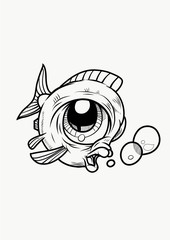 A funny Fish with bubbles in cartoon style. Black and White Vector Illustration