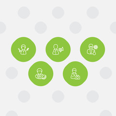 Set Of 5 Position Outline Icons Set.Collection Of Scientist, Photographer, Barber And Other Elements.