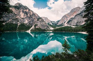 Amazing view of Braies lake (Lago di Braies, Pragser wildsee). Trentino Alto Adidge, Dolomites, Alps, Italy