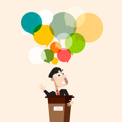 Man at Lectarn with Colorful Speech Bubbles. Vector Businessman Illustration on Conference.