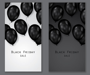 Black friday sale deals - vertical vector balloons banner ( shopping , promotion )