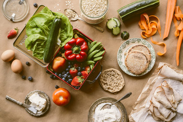 Assortment of fresh healthy food ingredients from above
