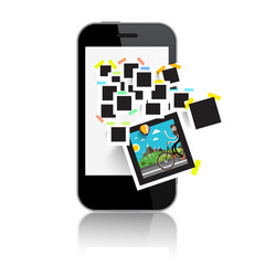 Retro Film Photo Frames on Smart Phone Display. Abstract Vector Technology Device Isolated on White Background.