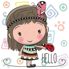 Cute Cartoon girl and ladybug