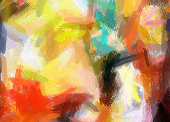 Painted large brush strokes artistic texture. Colorful art background. High quality and resolution abstract multicolor painting.  Good for printed picture, design postcard, posters and wallpapers.