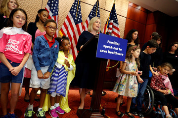 Sen. Kirsten Gillibrand (D-NY) speaks at a news conference about the latest republican effort to repeal and replace the Affordable Care Act on Capitol Hill in Washington
