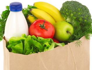 Fresh market groceries bag close-up