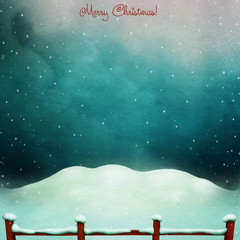 Night winter background with the snow and the red fence.
