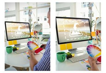 Desktop Computer on White Desk with Designer at Work Mockup