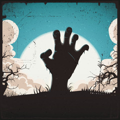 Undead Zombie Hand On Halloween Background