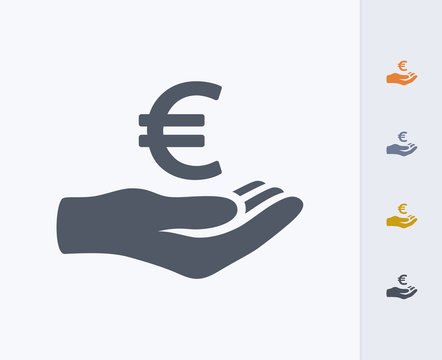 Hand Holding Euro - Carbon Icons. A professional, pixel-perfect icon designed on a 32 x 32 pixel grid and redesigned on a 16 x 16 pixel grid for very small sizes.