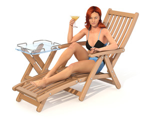 Girl in a swimsuit with a glass of drink in her hand is resting on a deckchair. 3d image isolated on white.