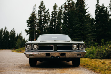 The front of a 1960's era muscle car