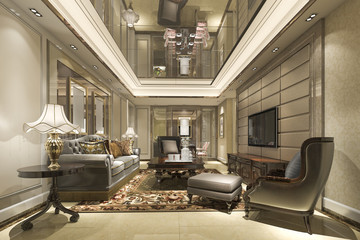 3d rendering luxury and modern living room and lounge with dining table