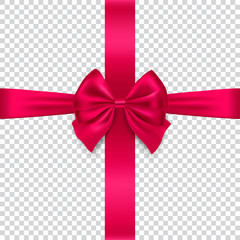 Silk red bow and ribbon isolated on transparent background, vector