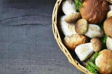 Boletus edulis mushrooms in a basket on old wooden background.Autumn Cep Mushrooms.Cooking delicious organic mushrooms.Gourmet food.Selective focus.