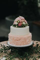 Detail of Blush Pink and White Wedding Cake
