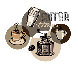 Hand drawn doodle coffee illustration