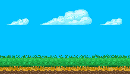 Pixel art seamless background with sky and ground.
