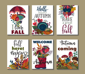Vector collection of autumn cards.