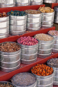 Dried spices and flowers in a souk in Morocco.